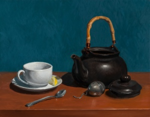 """Winter Tea in Kennett"" by Karen Kappe Nugent, oil on canvas, 14"" H x 18"" W."